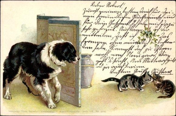 Litho Bernhardiner beobachtet zwei Hauskätzchen, Theo Stroefer... - 1712917  | eBay