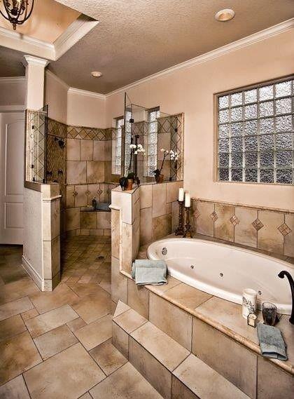 Jacuzzi tub walk in shower bathroom pinterest for Remodelacion de banos pequenos modernos