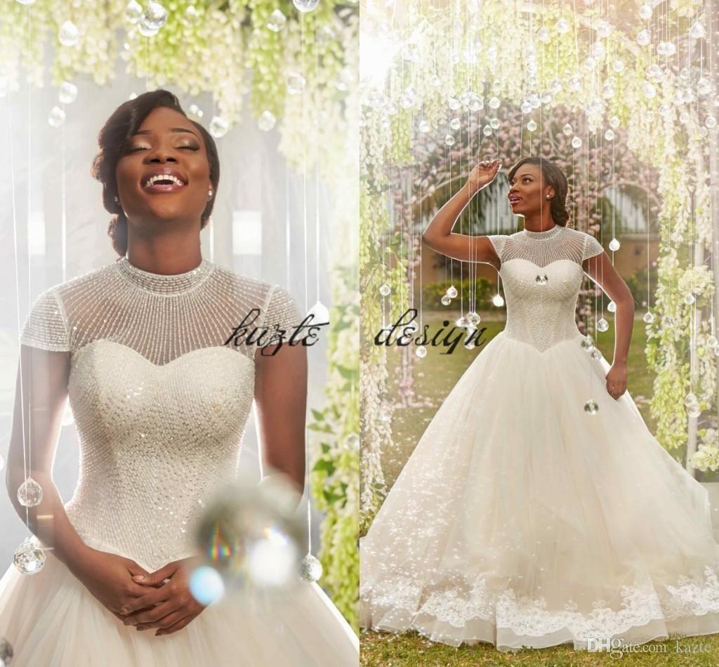 Luxury Shiny Beaded Crystsal High Neck Wedding Dresses with Sleeves 2018  Plus Size South African Nigerian Church Garden Wedding Gowns Mermaid Wedding  Dress ... d179bdaf379d