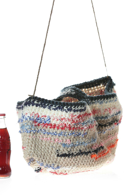 8aa1618bed9 DANIELA GREGIS - Crocheted Bucket Bag In Heavy Multicolour Cotton And Linen  :: Ivo Milan