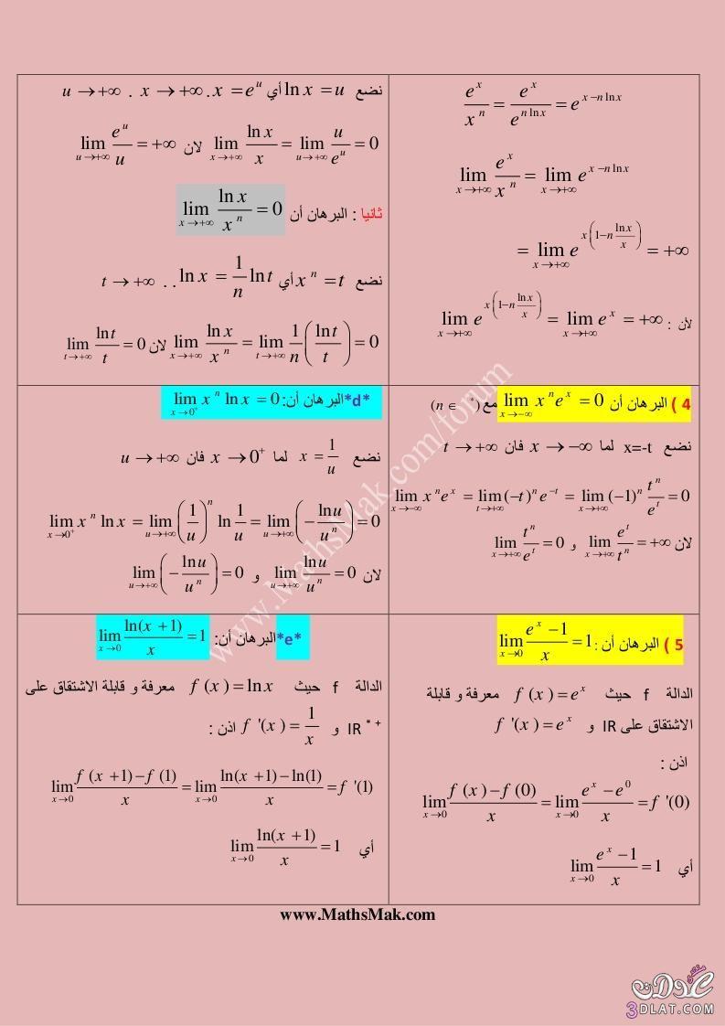 النهايات الأساسية للدوال الأسية اللوغاريتمية البراهين Do Php Imgf 13705171 Math Periodic Table Entertaining