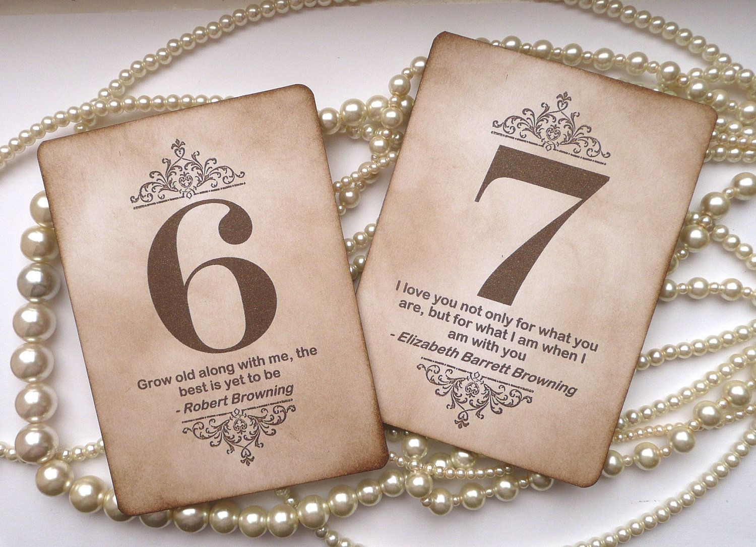 Wedding Table Numbers - Vintage Charm with QUOTES - All Handmade ...