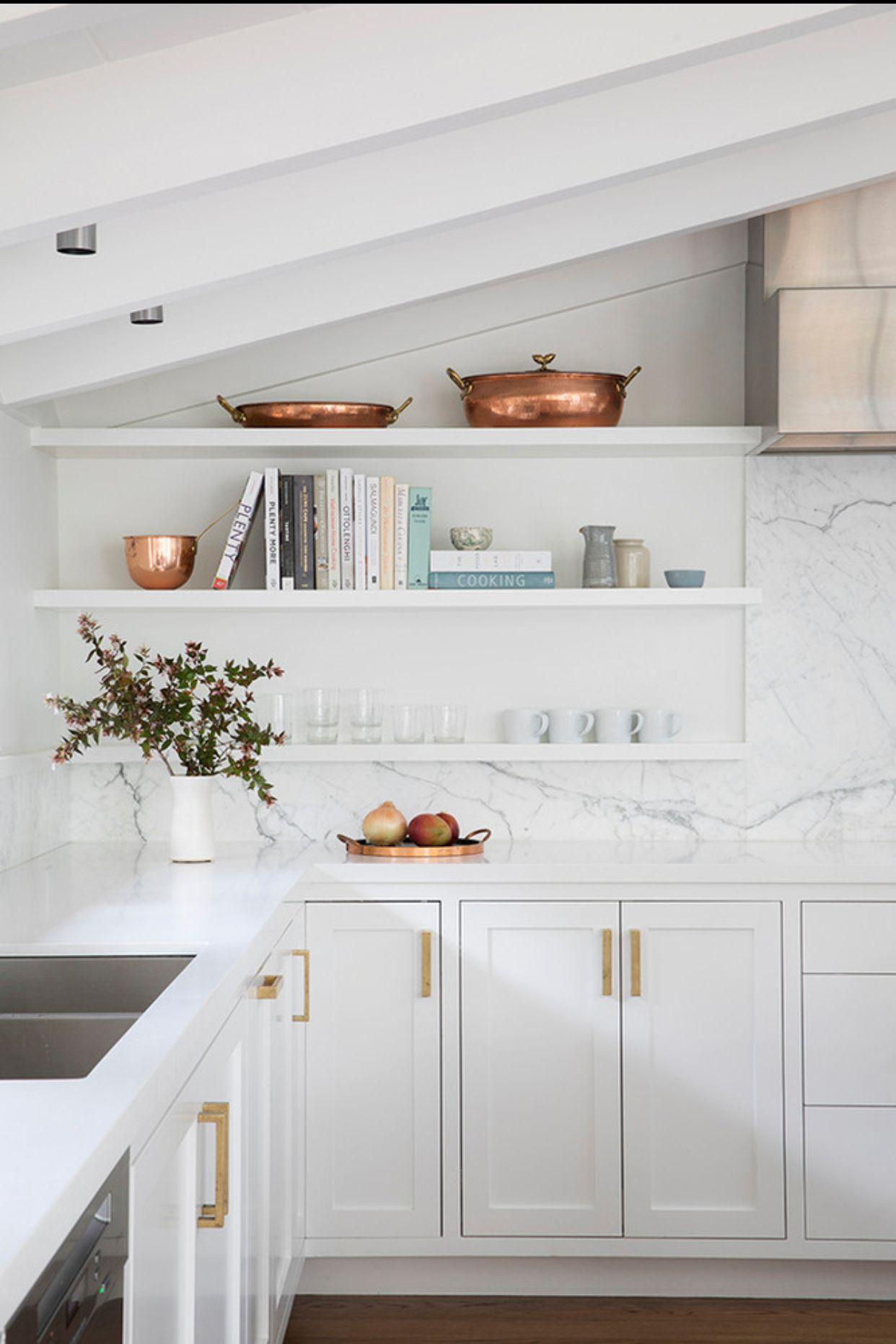 Kitchen Modern White And Gold Wall Shelves Floating Shelf