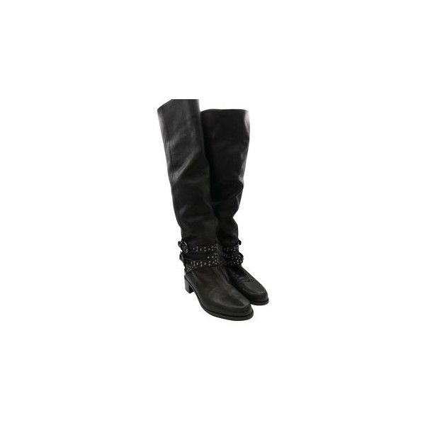 Stuart Weitzman Pver the Knee Flat Studded Leather Buckles Sz 7.5... ($200) via Polyvore featuring shoes, boots, black studded boots, black over-the-knee boots, over knee boots, black flat boots and over-the-knee leather boots