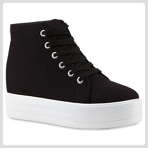 Damen Sneakers Plateau Sneaker High Plateau Zipper Schnürer Keilabsatz  Sneaker Wedges Leder-Optik Schuhe 114066