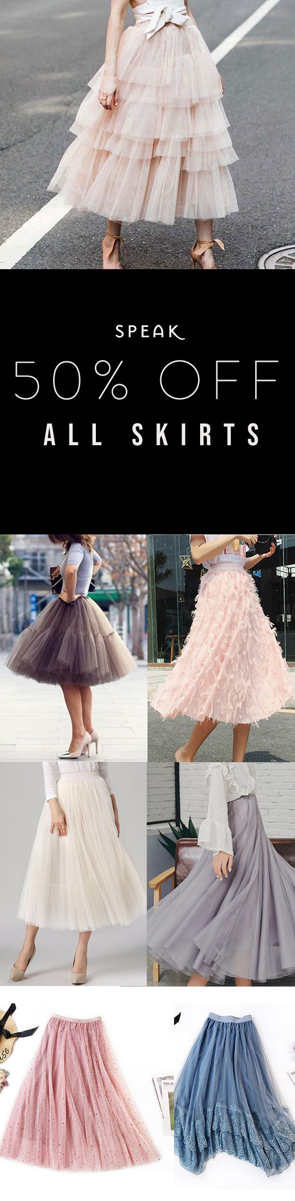 Tulle Skirt Sale! 50% Off (or more) all skirts at Speak. #kleidersale