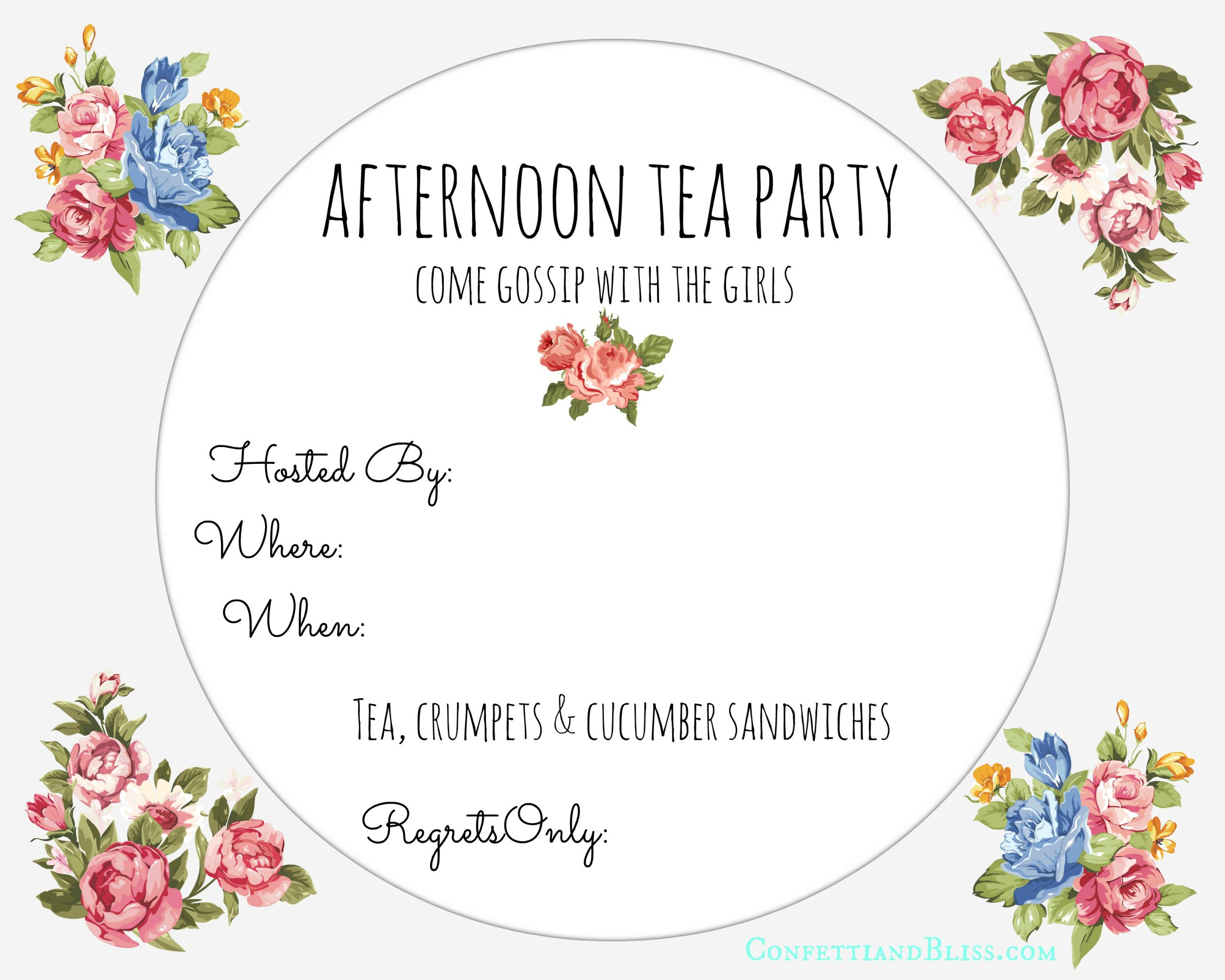 Tea Party Invite Printable