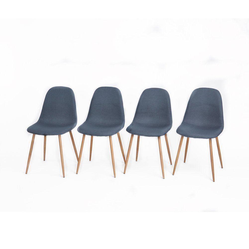 aingoo 4x blau küchenstuhl metallbeinstuhl daw bistrostuhl eiffel, Esszimmer