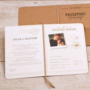 Faire part mariage passeport kraft avec tampon cœur cuivré