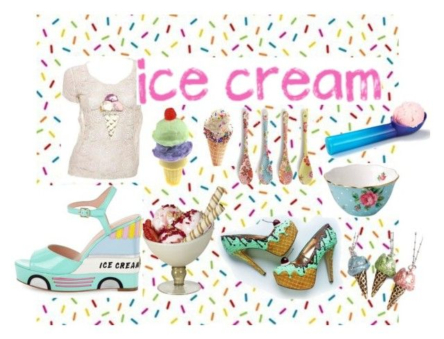 """For the Love of Ice Cream"" by heathervogel ❤ liked on Polyvore featuring interior, interiors, interior design, home, home decor, interior decorating, Karl Lagerfeld, Kate Spade, Sweet Romance and Miya Company"