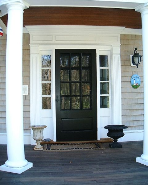 Colonial exterior front door entry trim mudroom for Front doors for colonial homes