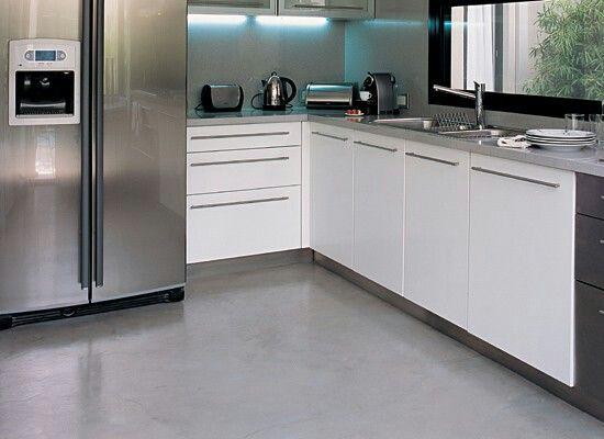 Cocina cemento alisado casa pinterest cemento for Cocinas de casas modernas