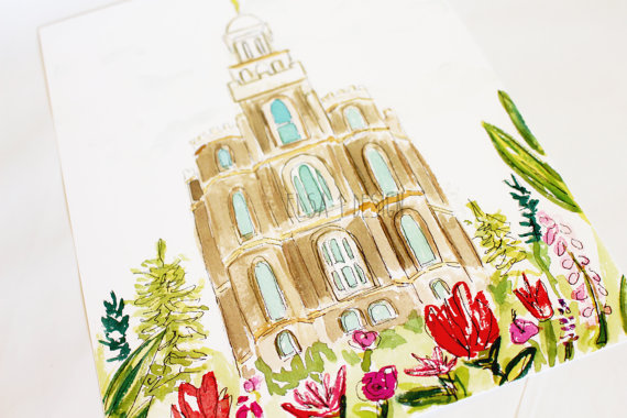 Logan Utah Lds Temple Watercolor Temple 8x10 Print By Elsa