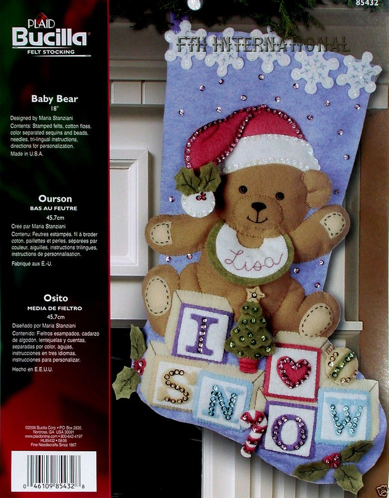Bucilla Baby Bear 18 Quot Felt Christmas Stocking Kit 85432