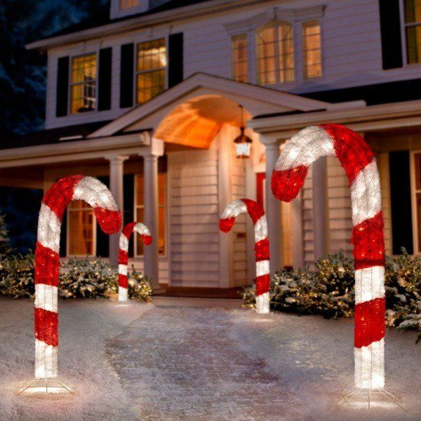 fabulous christmas yard decorations candy cane lights front yard decor ideas