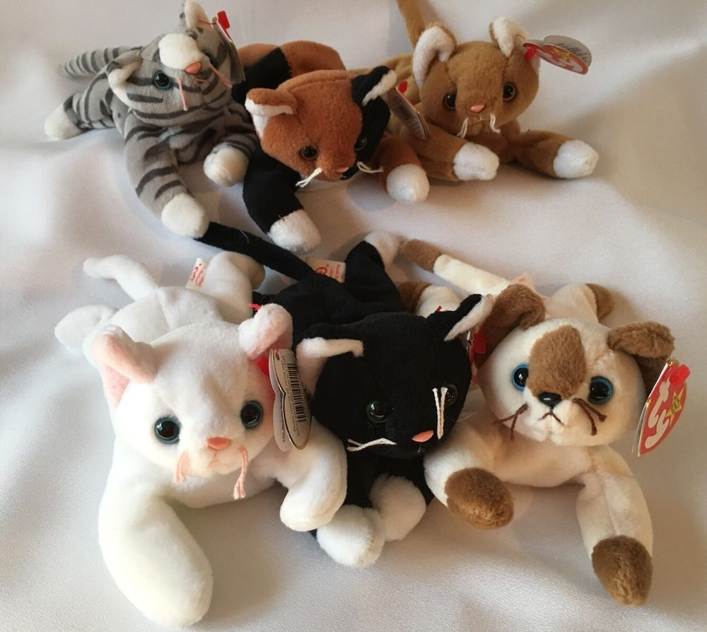 755e42abc3c Ty Beanie Babies Cats Lot of 6 With Tag Chip Flip Nip Snip Zip Prance PVC  Pellet  Ty
