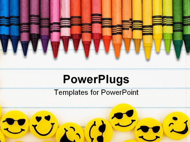Free PowerPoint Template Displaying Rainbow Color Crayons and - line paper background