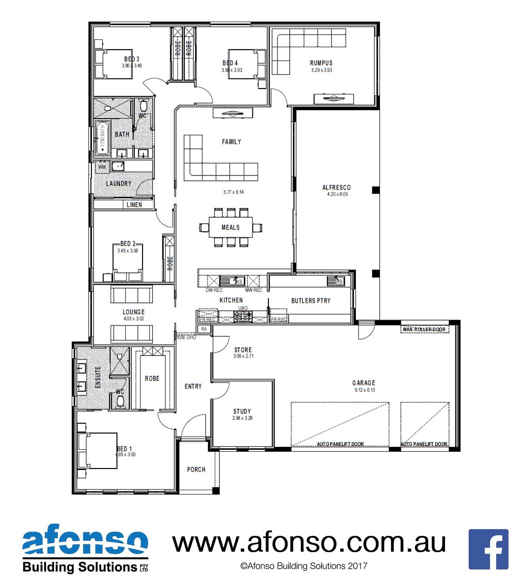 Afonso Building Solutions On Instagram Floorplan Friday Our Chifley 363 Is A 4 Bedroom 3 Living Home Plus Study It Features Floor Plans Building Study
