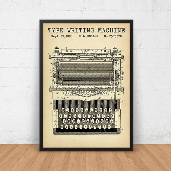Typewriter Patent Print, Digital Download, Typewriter Poster - copy digital product blueprint download