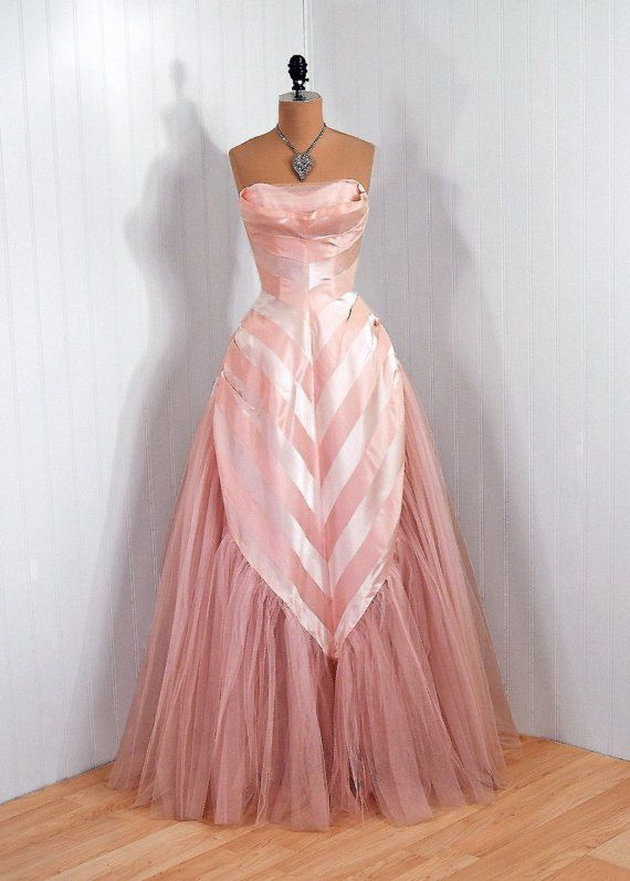 1950's Vintage Champagne-Pink Stripe Silk-Taffeta and Tulle-Couture Sweetheart Shelf-Bust Strapless Ballerina-Cupcake Rockabilly Full-Length...