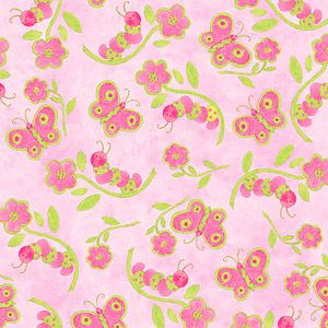 "Creative Cuts Cotton 44"" wide, 2 yard cut fabric - Soft Butterfly, Pink"