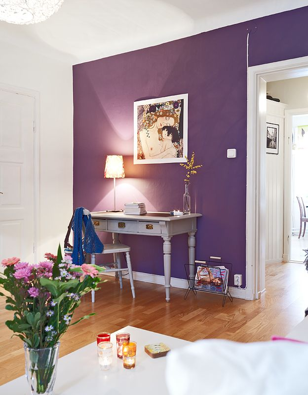 Purple wall home decor pinterest walls bedrooms for Purple dining room wall art
