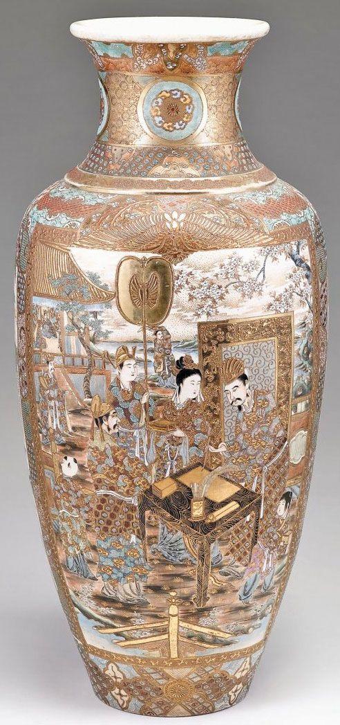 A Large Japanese Satsuma Floor Vase Baluster Form Enameled Gold