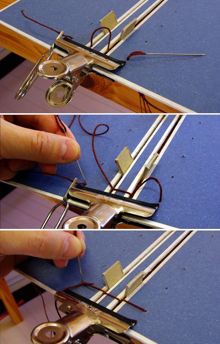 表/裏表紙と背表紙の連結。 試作では目玉クリップ のみで表紙と隙間の間隔を維持で...