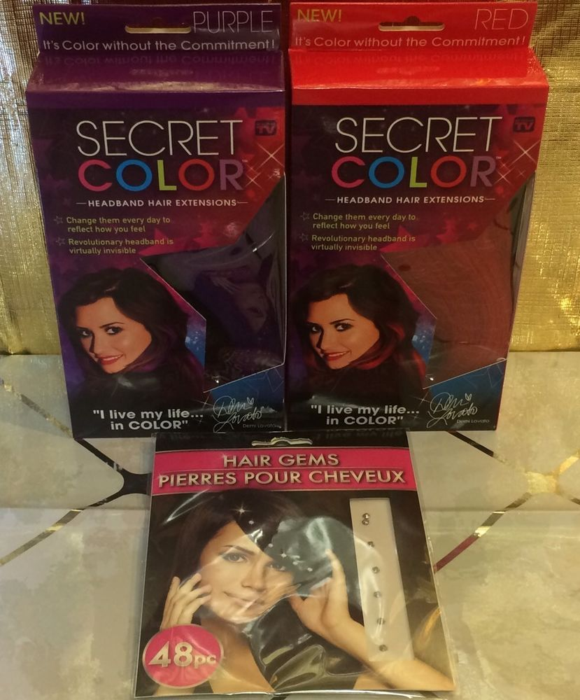 2 Secret Color Headband Hair Extensions Purple Red Seen On Tv And
