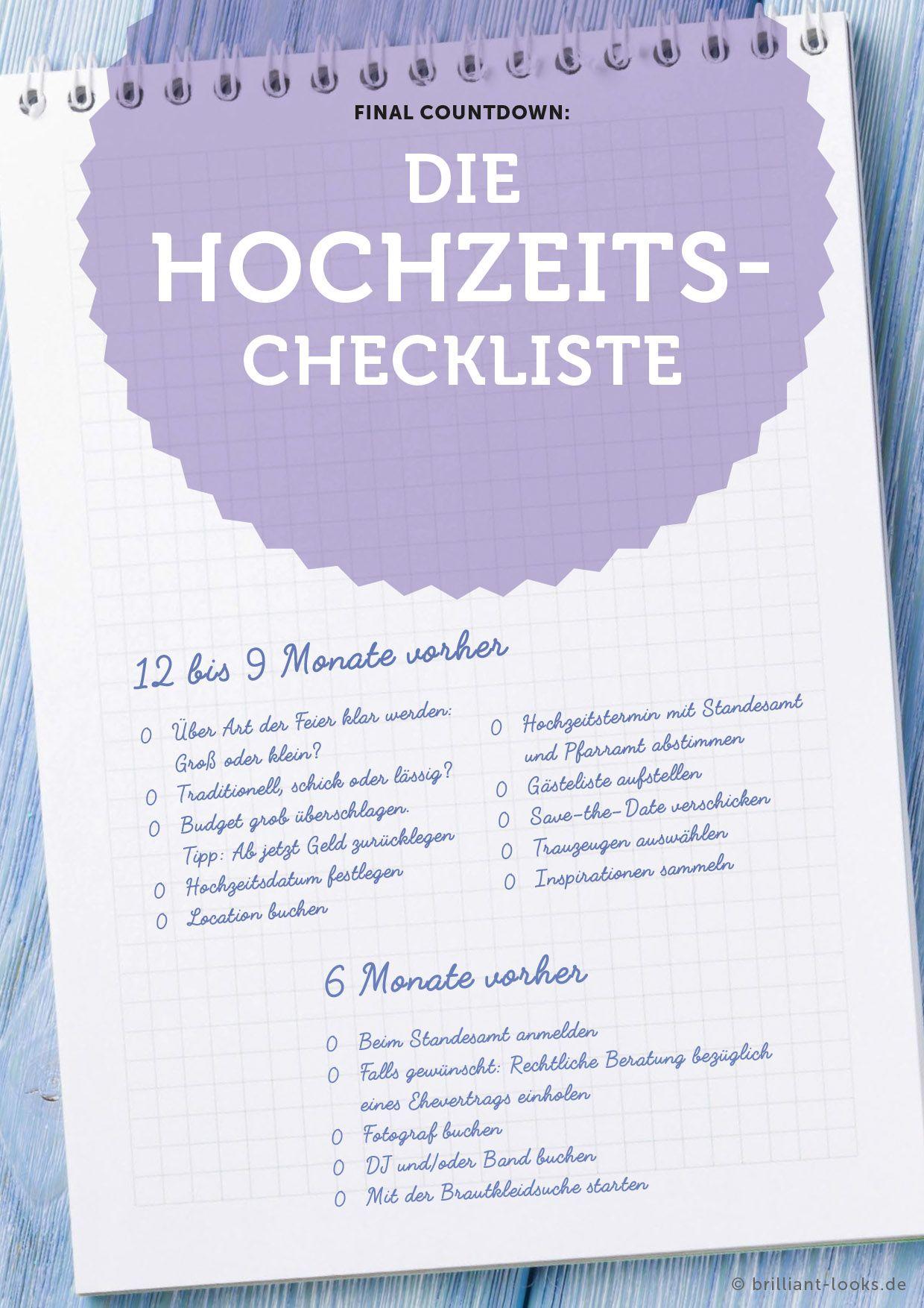 Die Hochzeits-Checkliste - Perfekt vorbereitet für die eigene ...
