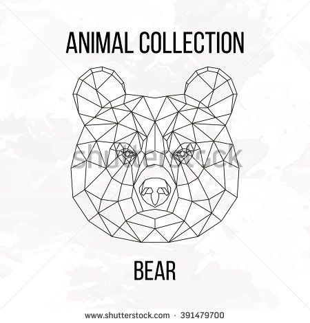 Bear head geometric lines silhouette isolated on white background vintage design element image
