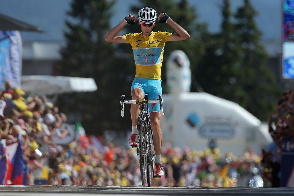 Vincenzo Nibali of Italy and the Astana Pro Team reacts as he defends the overall race leader's yellow jersey and wins the thirteenth stage of the 2014 Tour de France, a 197km stage between Saint-Etienne and Chamrousse, on July 18, 2014 in Chamrousse, France.
