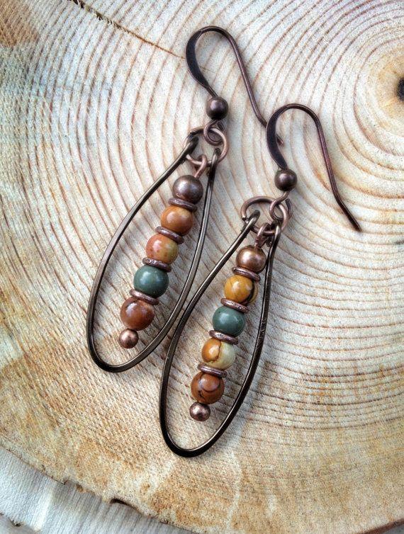 Boho Copper Hoop Earrings Jasper Stone Jewelry Handmade