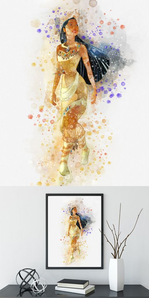 Disney Pocahontas Watercolor Poster Print Watercolor Painting