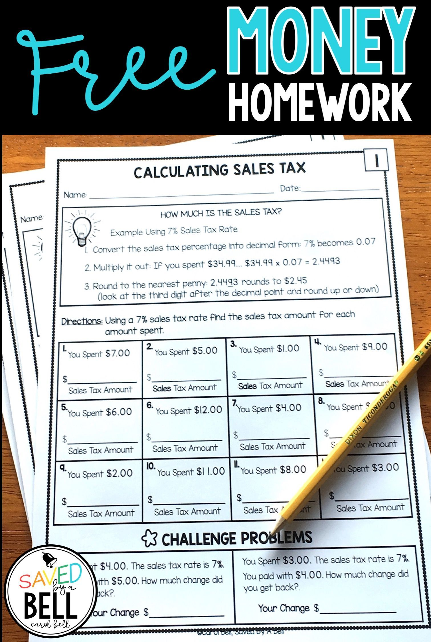 Free Money Worksheets Addition Subtraction Sales Tax And