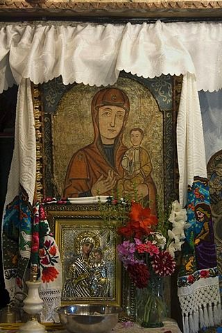 Icono, Iglesia de madera de la Santa Paraskeva, la Unesco Patrimonio de la Humanidad, Desesti, Maramuresch, Rumania