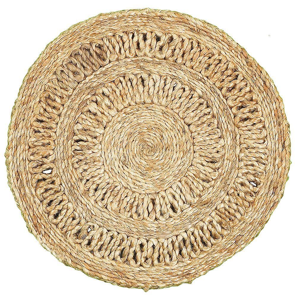 LR Home Natural Jute Circlet Placemats (Set of 2), 15 x