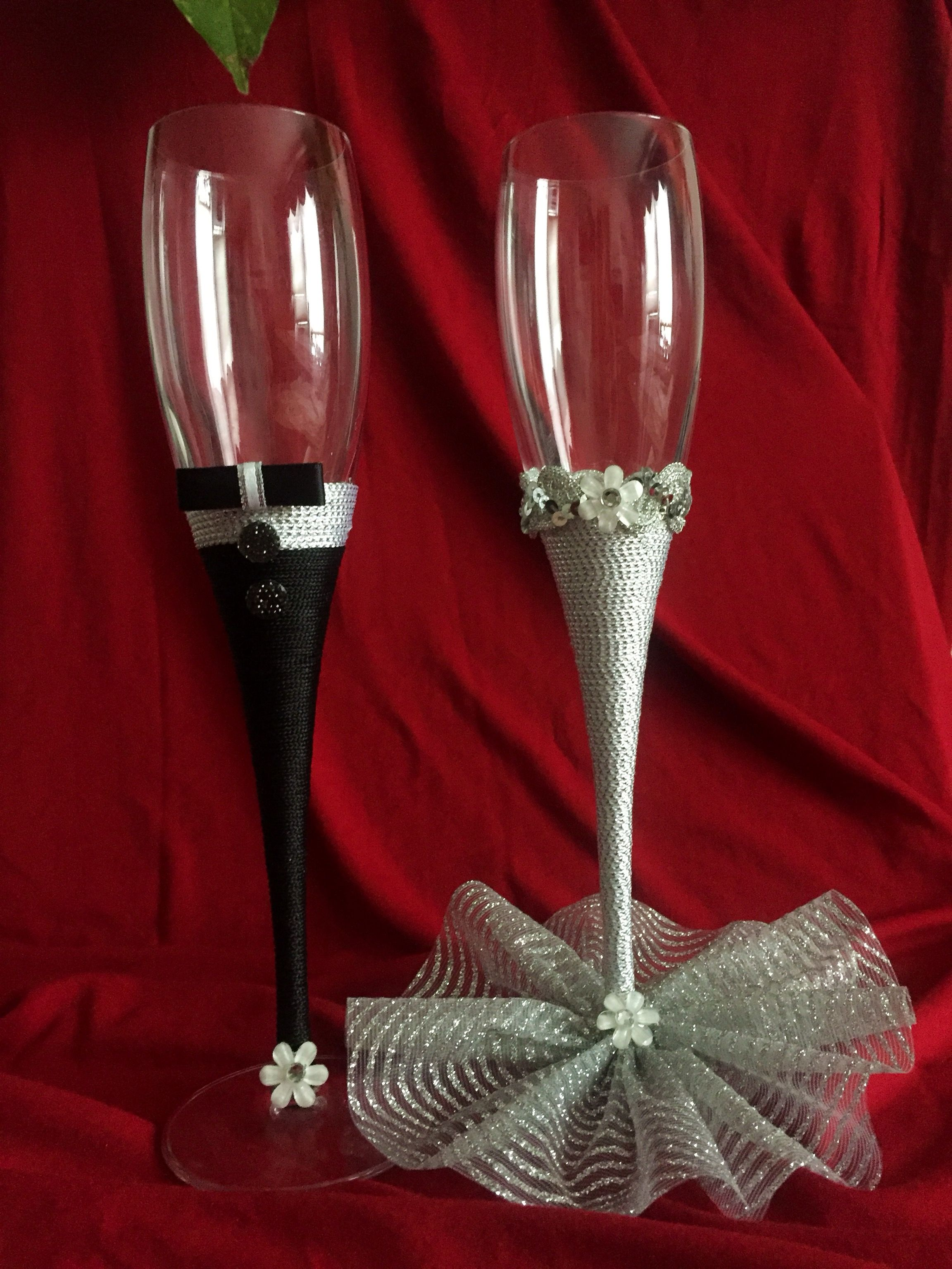 Wedding Champagne Flutes Bride And Groom Toasting Glasses Wedding