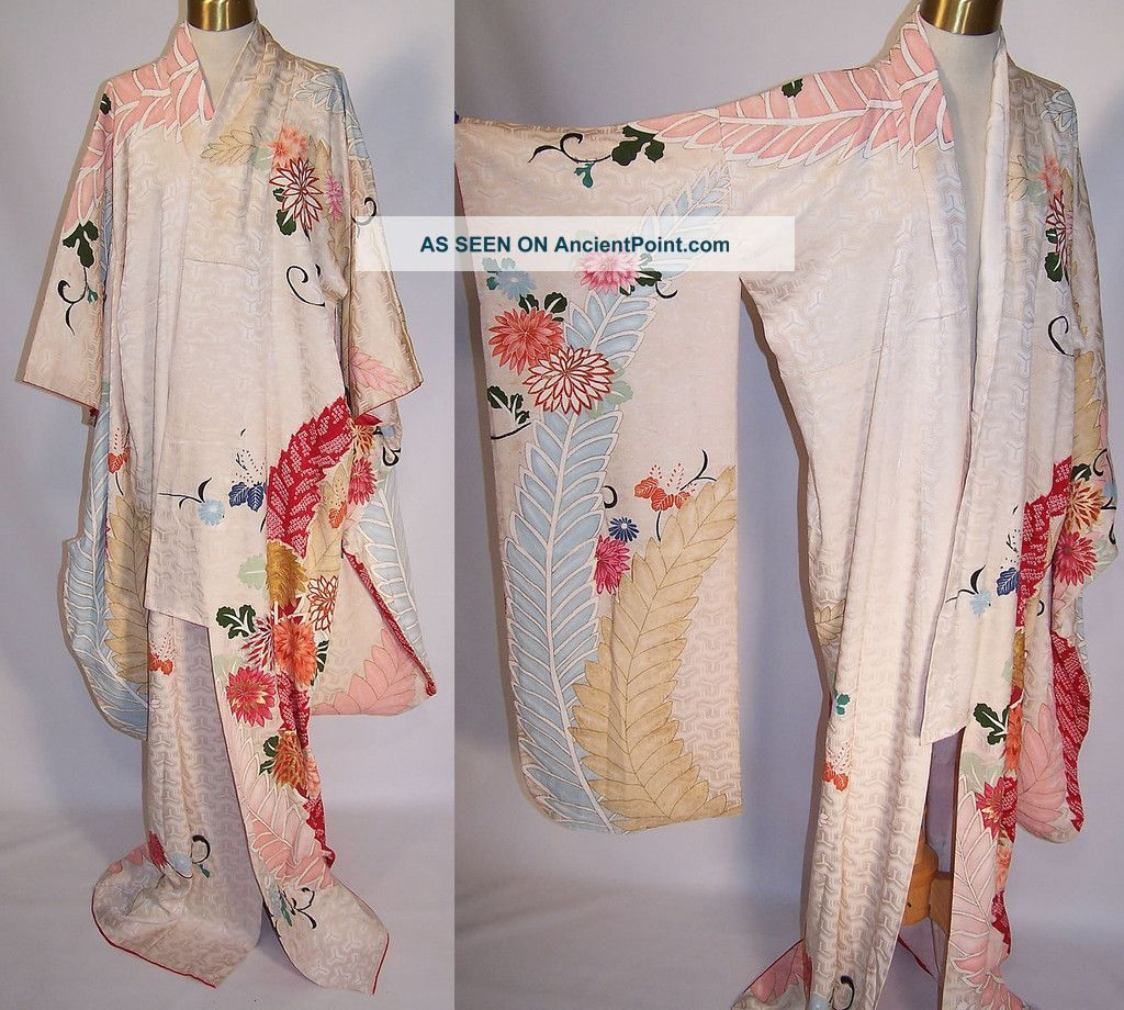 Vintage Japanese Geisha Silk Screen Pastel Floral Shibori Leaf ...