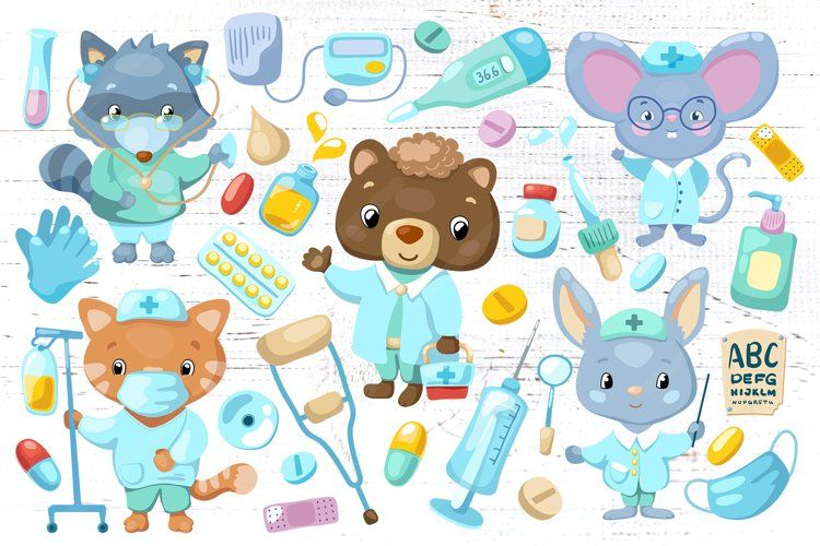 Cute Animals Doctor Characters Vector Clipart 880563 Illustrations Design Bundles In 2021 Animal Doctor Doctor Character Cute Animals