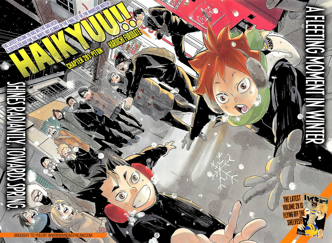 Cover And Lead Color Pages For Haikyuu In The Latest Issue Of Jump Source Mangastream Read The Chapter There In 2020 Haikyuu Manga Haikyuu Anime Anime Wall Art