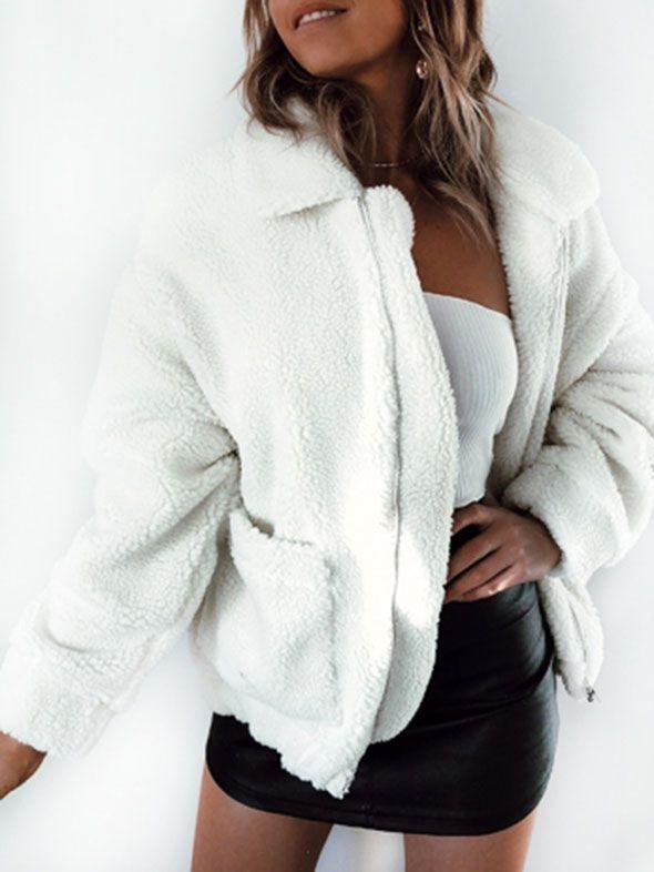 Womens Long Sleeve Zip Up Lapel Fluffy Faux Fur Oversized Coats Fleece Jacket with Pockets Outwear Winter