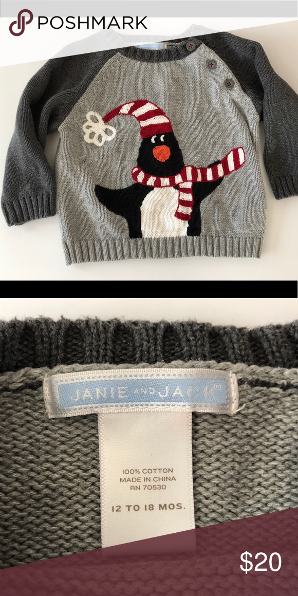 94ec727ed4a3 Janie and Jack 12-18M Sweater Penguin Adorable for holiday photos or ...