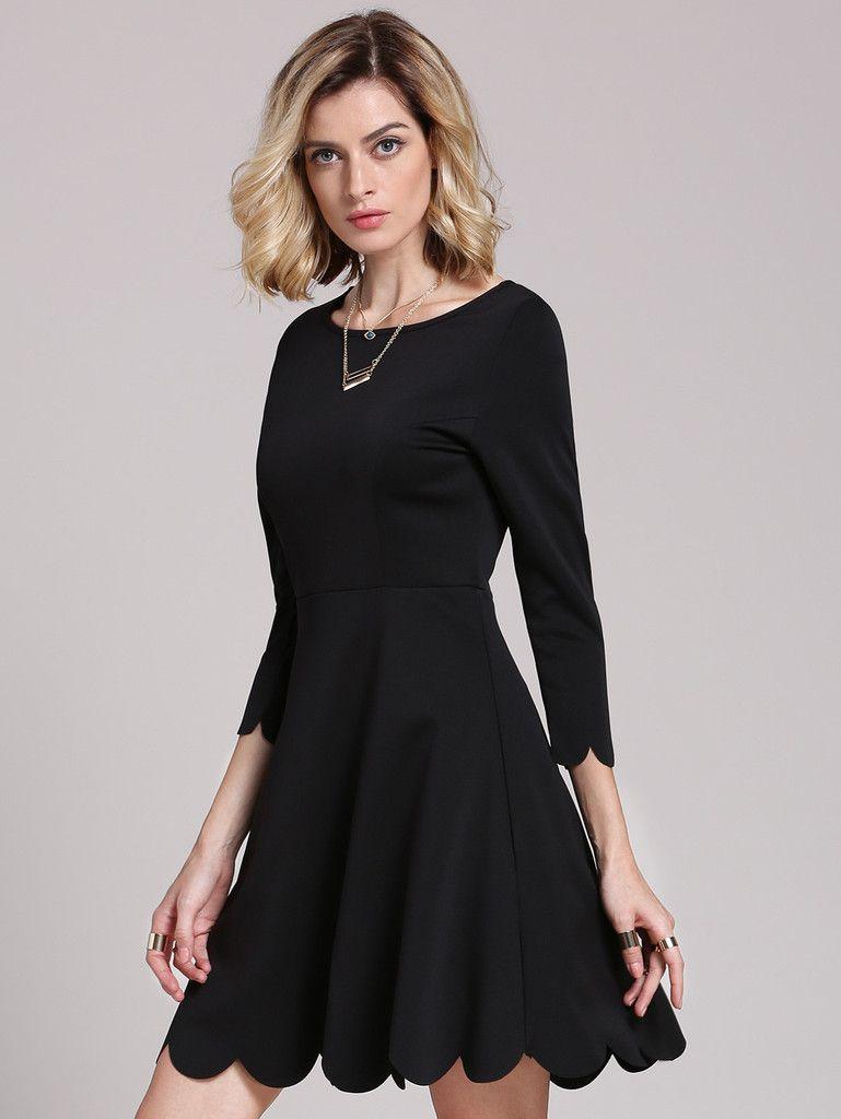 Black round neck ruffle dress dresses pinterest ruffle dress