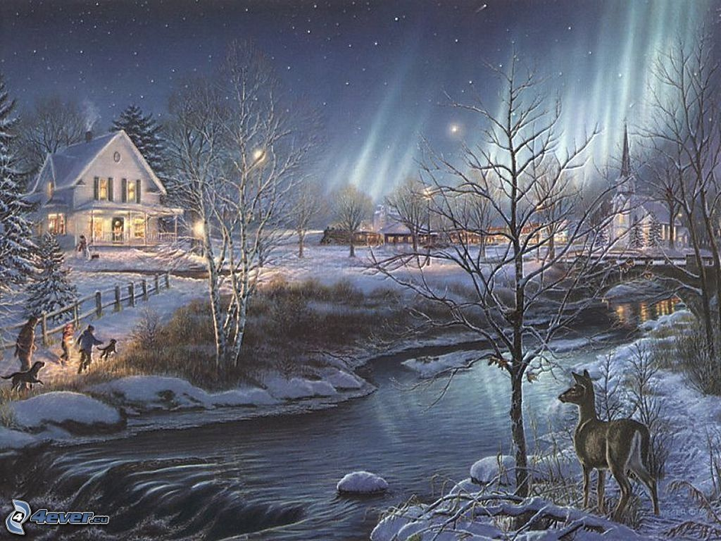Cartoon Village Christmas Winter Snow Stream Doe Trees Aurora Thomas Kinkade 133910 Jpg 1 Christmas Scenery Beautiful Christmas Scenes Winter Wallpaper