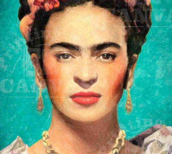 Photo of Frida Kahlo Portrait Art Print Frida Kahlo fan art Frida Kahlo self-portrait decor Famous mexican ar