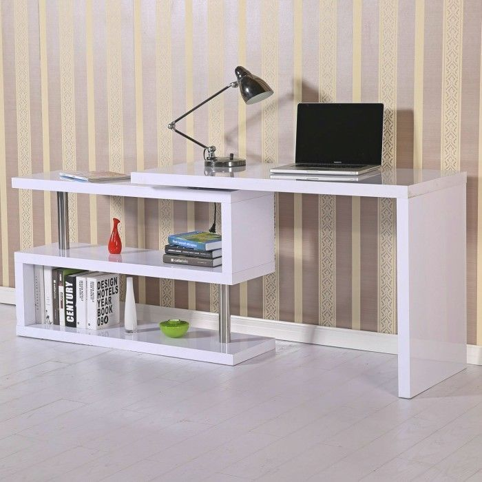 White Gloss Computer Table Corner Computer Home Office Desk Storage Book Shelf Office Furniture Modern Home Office Furniture Corner Writing Desk