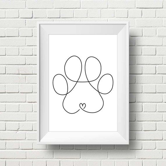 Minimalist Dog Paw Drawing Doodle Wall Art Print. Printable Modern Paw Illustration Decor. One Line Paw Print. Pet Corner. Living Room.