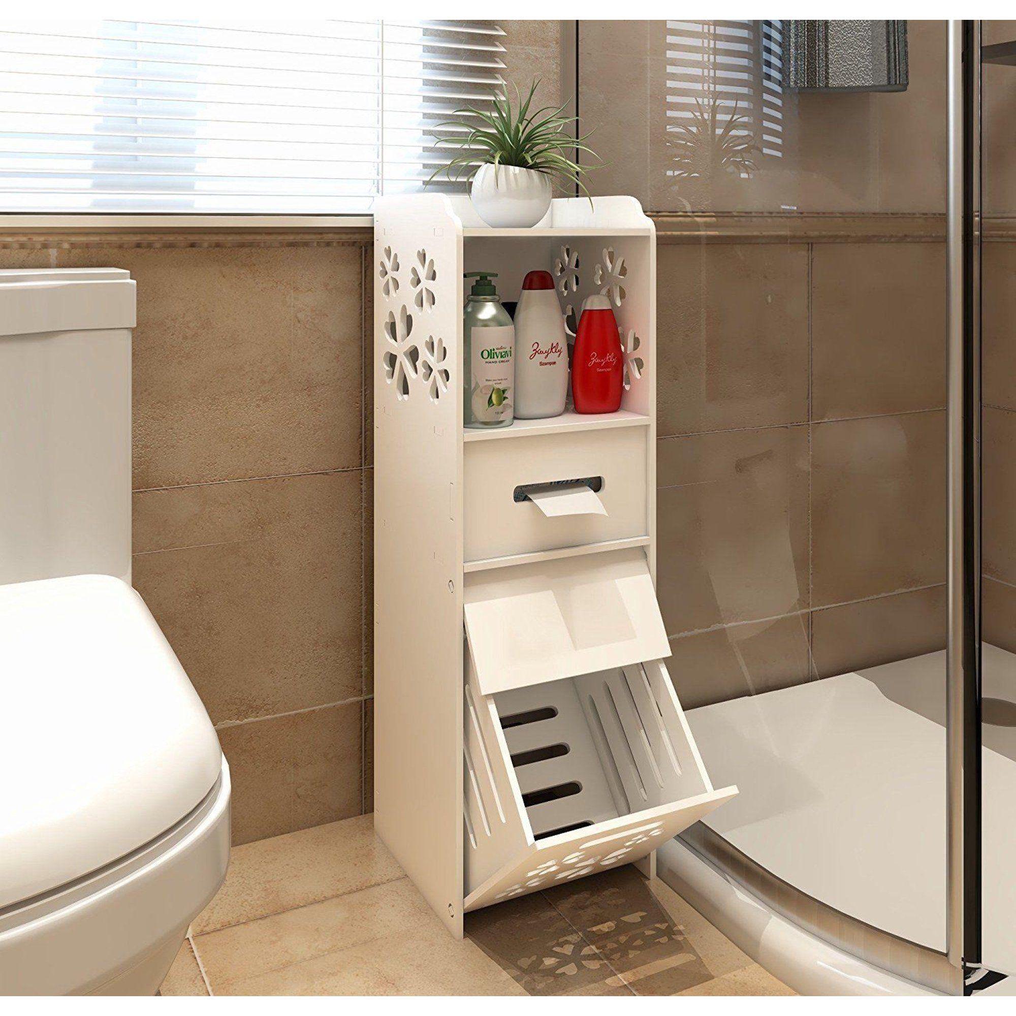 Ktaxon Slim Bathroom Storage Cabinet, Bathroom Toilet Slim Floor Cabinet Narrow Storage Cupboard With Drawers