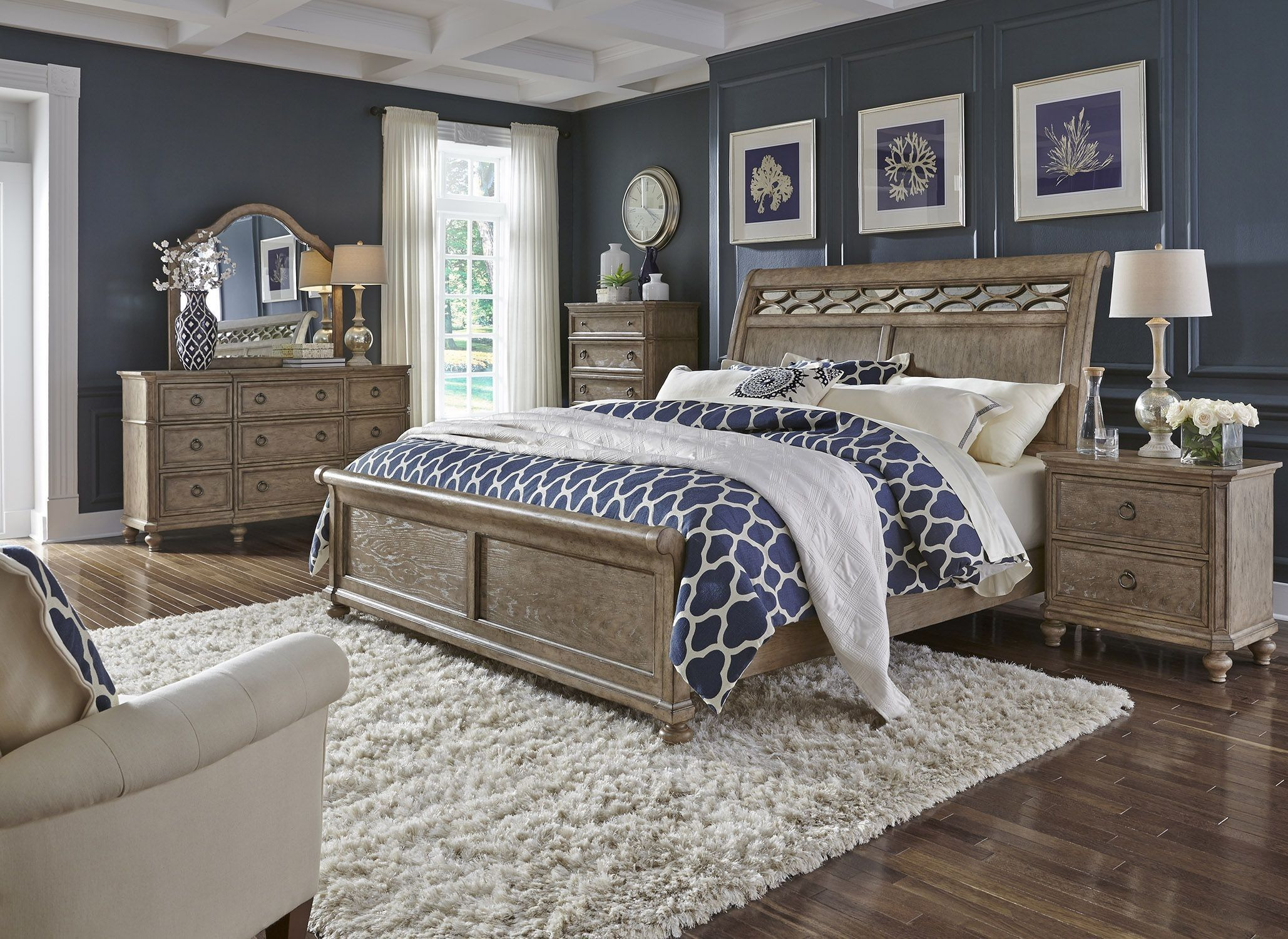 Simply Elegant Wire Brushed Heathered Taupe King Sleigh Bed